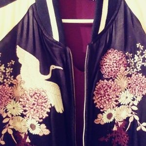 Silky Bomber Sakura Embroidered Jacket
